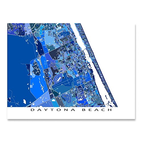 Daytona Beach Map Art Print, Florida, USA, (Speedway Nascar Picture)