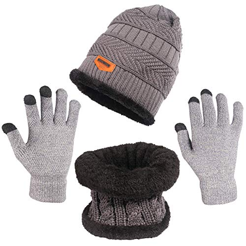 Unisex Beanie Hat + Infinity Scarf + Touch Screen Gloves, Winter Warm Up Set for Woman Man One Size Fits All(Grey)
