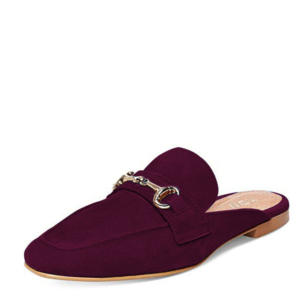 YDN Women Retro Low Heels Mules Closed Toe Slip On Loafer Shoes Flat Slide Sandals Shoes Wine Red 14