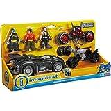 Fisher Price - DC Super Amis - Imaginext - dc super amis Cadeau Set- Inclus Batman, Robin & Bane Mini Figurines, 3 Véhicules et accessoires