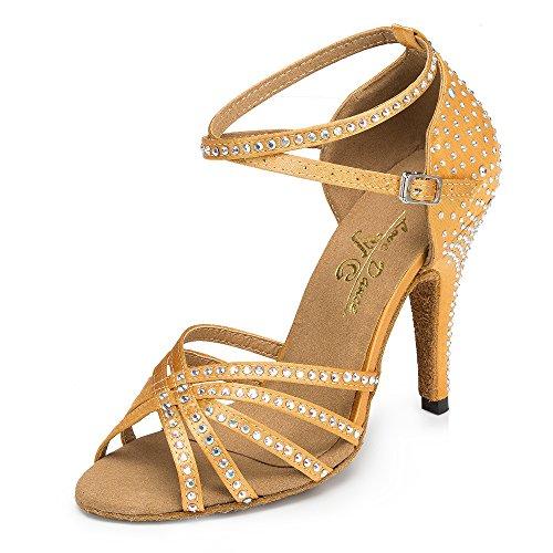 Cristales De Mujer Sparking Satin Latin Salsa Zapatos De Baile/Tango/Chacha/Samba/Modern/Jazz Shoes Sandalias Tacones Altos Brown7.5cm