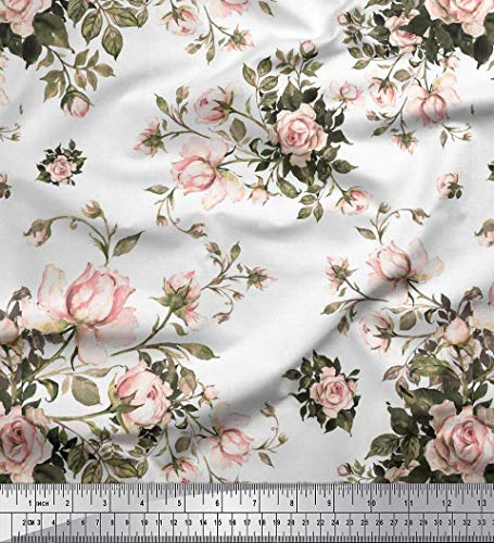 Floral Rose Fabric (Soimoi White Cotton Jersey Fabric Leaves & Rose Floral Print Sewing Fabric BTY 58 Inch Wide)