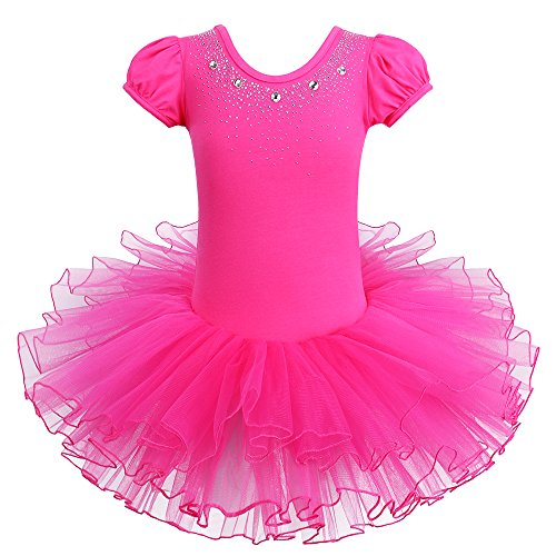 BAOHULU Kids Leotards for Dance Short Sleeve Rhinestone Ballet Tutu Dress for Little Girls 3-8 Years B093_HotPink_XXL -