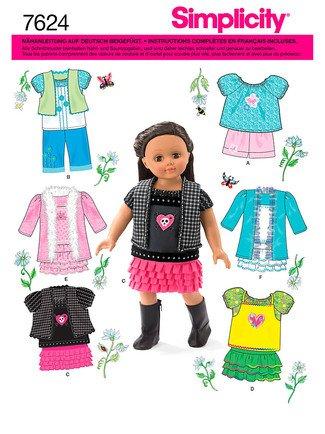 Simplicity Schnittmuster 7624 Puppenkleidung für Puppen bis 45 cm ...