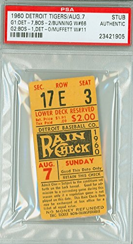 (1960 Detroit Tigers Ticket Stub vs Boston Red Sox Jim Bunning Win #66 - August 7, 1960 [Grades Excellent, corner touches] by Mickeys Cards)