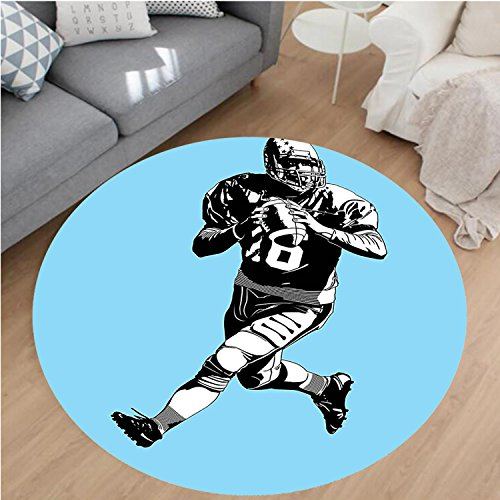Beige Rug Rust Rugby (Nalahome Modern Flannel Microfiber Non-Slip Machine Washable Round Area Rug-Football League Game Rugby Player Run Original Kitsch Retro Illustration Blue Black White area rugs Home Decor-Round 28