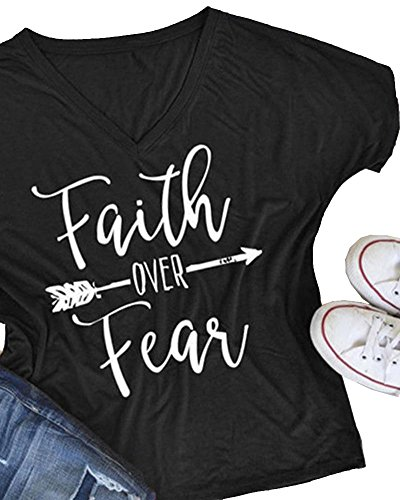 Black Over Print (Pxmoda Women's Casual Letters Printed T-Shirt Short Sleeves Faith Over Fear Arrow Tee Tops)