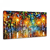 Large 100% Hand-paint Oil Painting Modern Abstract Rainy Street Canvas Wall Art No Frame
