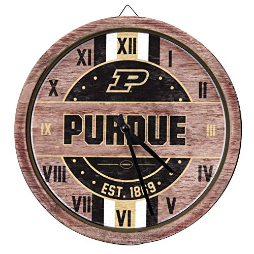 FOCO NCAA Purdue Boilermakers Team Logo Wood Barrel Wall ClockTeam Logo Wood Barrel Wall Clock, Team Color, One Size ()