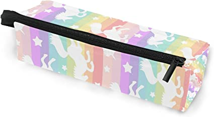 Estuche para gafas, diseño de unicornios blancos sobre arcoíris, portátil, caja suave para mujeres y niñas, con cremallera, soporte para gafas de sol, estuche para lápices de dibujos animados: Amazon.es: Oficina y