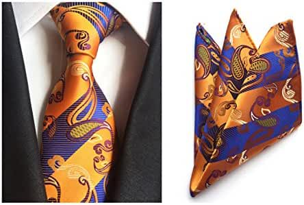 MENDENG Men's Gold Blue Paisley Silk Ties Business Party Tie Hanky 2 Pieces Sets