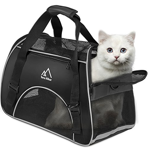 Terra Hiker Small Pet Carrier, Airline Approved Carrier, Under Seat for Small Dogs and Cats, Travel Bag for Small Animals with Mesh Top and Sides