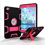 iPad Mini 4 Case, VPR New Design iPad Mini 4 Case 3 In 1 Hybrid Armor Shockproof Full Body Protective Kickstand Case For Apple iPad Mini 4 (Black+Rose)