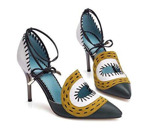 YEEY Las mujeres de tacón alto de cuero genuino correas sandalias elegante cómodo trabajo de compras Green