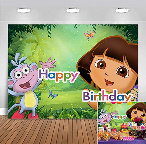 Adventure Girls Display Party Banner Photography Backdrops Vinyl 7x5ft Photobooth Props Forest Monkey Sequin Children Birthday Photo Backgrounds Decoration Supplies for Baby Shower