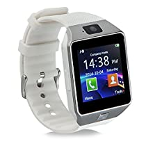 Padgene Bluetooth DZ09 Smartwatch Touch Screen with Pedometer Anti-lost Camera Support Android Apple system (White)