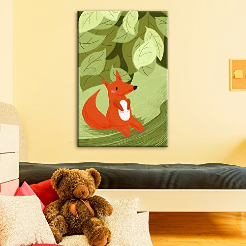 Cute Cartoon Animals A Red Fox in The Forest Kid's Room Wall Decor
