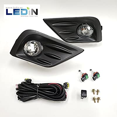 LEDIN For 2016-2020 Nissan Altima Front Bumper Clear Fog Lights with Bezel Wires Switch Bulbs: Automotive
