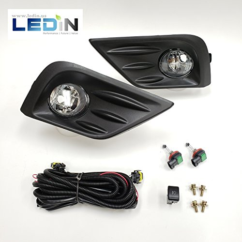LEDIN For 2016-2018 Nissan Altima Front Bumper Clear Fog Lights with Bezel Wires Switch Bulbs