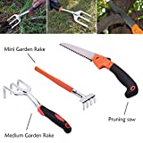 Koram 13 pieces Garden Tools Set Home Lawn Kit Soft Touch Handles Ergonomic Design with Gardening Protective Coating Gloves, Hand Pruning Shears, Shovel, Rakes