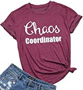 FAYALEQ Women Chaos Coordinator Letters Print Funny T-Shirt Short Sleeve Casual Tops Tee