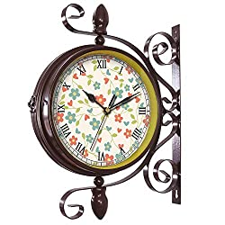 girlsight Wrought Iron Antique-Round Clock Wall Retro Station Chandelier Double Sided Wall Clock -360 Degree Quiet Grand Central Station Wall Clock185.Floral Wallpaper Background Flowers