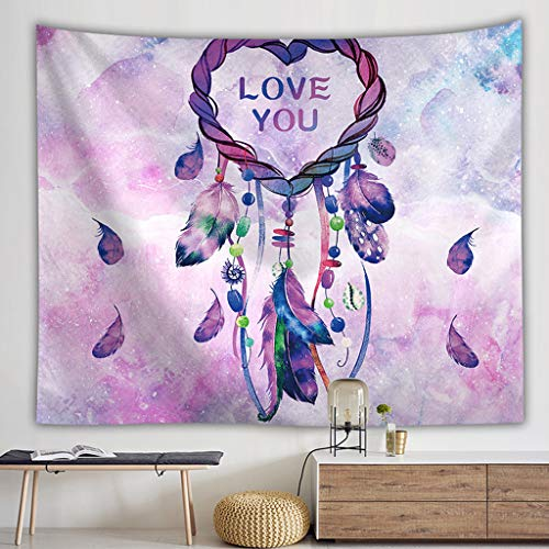 Gotian Colorful Dream Catcher Tapestry Bohemia Hippie Wall Hanging Bedspread Dorm Decor, Girls Room Home Ornament Gift (A)