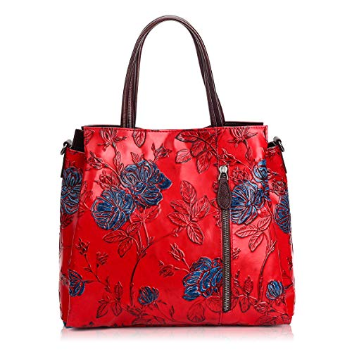 (APHISON Ladies Handbags Top Handle Bag Shoulder Bags Ladies Leather Tote Purses for Women, Unique Embossed Floral Cowhide Leather (RED))