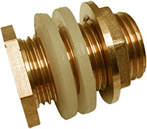 Brass Tank Fitting, Solid Brass Water Tank Connector, Garden Hose Adapter, Double Threaded Bulkhead, Tank Fitting with 2 Rubber Ring Stabilizing - 1/2inch