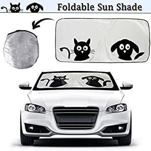 """Cartoon Car Windshield Sun Shade, 2win2buy Standard 59""""x33"""" Front Auto Car Windshield SunShade Foldable UV Rays Sun Visor Protector with Cute Pet Design to Keep Your Vehicle Cool and Damage Free"""