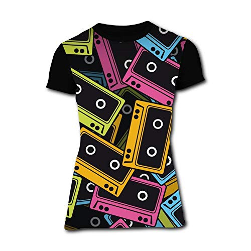 KAIvvv-47 Women's 3D Print Retro Music Tape T-Shirts for sale  Delivered anywhere in Canada