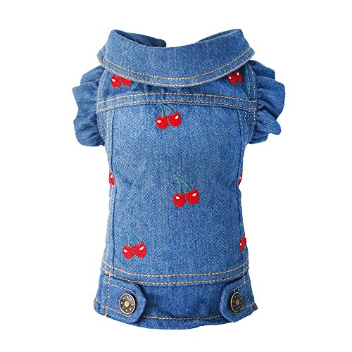 SILD Pet Clothes Dog Jeans Jacket Cool Blue Denim Coat Small Medium Dogs Lapel Vests Classic Puppy Hoodies (M, Cherry) by SILD