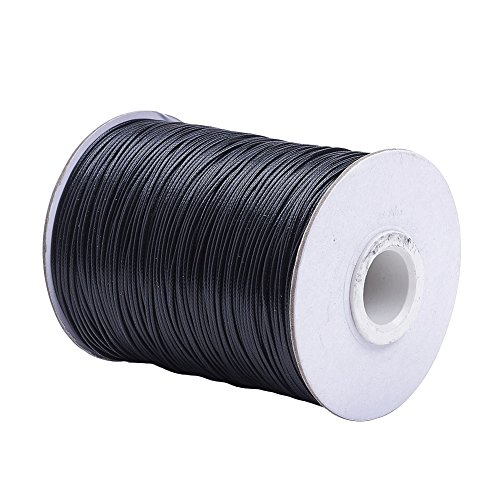 Pandahall 1Roll/185yards 1mm Thick Cotton Polyester Waxed Cord Macrame String Linen Thread Wire Black Jewelry Beading Necklace Making Leathercraft Supplies (Black)
