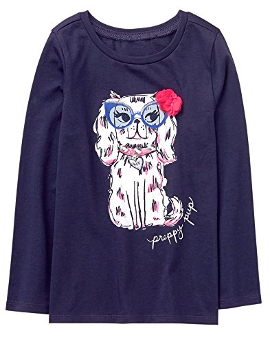 Girl Dog Tshirt Little (Gymboree Little Girls' Long Sleeve Sequin Graphic Tee, Navy Dog, S)