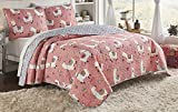 Vue Llama Drama 3-Piece Reversible Quilt Set, Twin Extra Long, Coral
