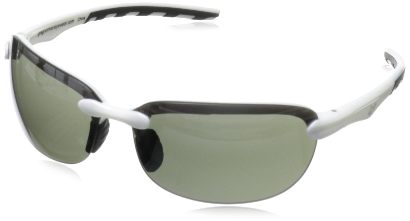 Greg Norman G4411 Sport Rimless Extreme Lens Sunglasses,Shiny White & Black, 66 mm