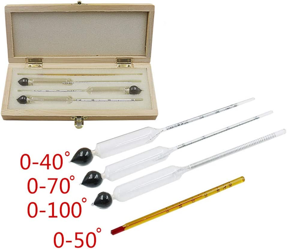 Alcohol Meter + Thermometer,yanQxIzbiu 4Pcs/Set 0-100 Whiskey Alcohol Meter Measuring Tester Hydrometer + Thermometer