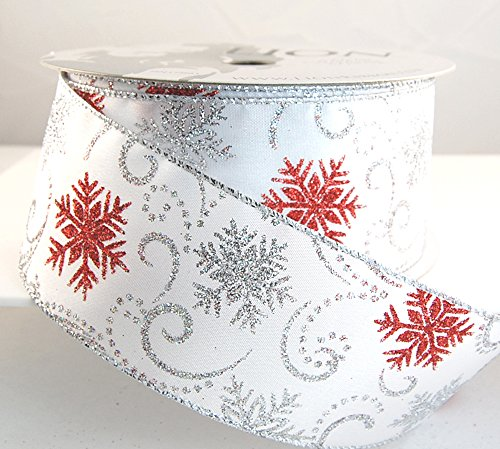 Wire Edged Denzel White, Silver and Red Glitter Christmas Ribbon 2 1/2