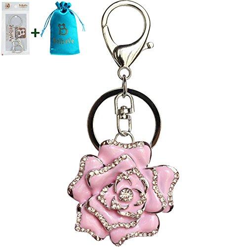 Bolbove Blossoming Rose Keychain Sparkling Flower Keyring Crystal Rhinestones Purse Pendant Handbag Charm -