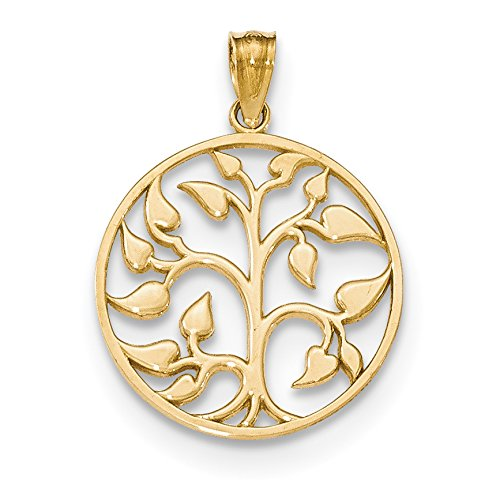 ICE CARATS 14k Yellow Gold Cut Out Tree Of Life Round Pendant Charm Necklace Inspiration Outdoor Nature Fine Jewelry Gift Set For Women Heart by ICE CARATS