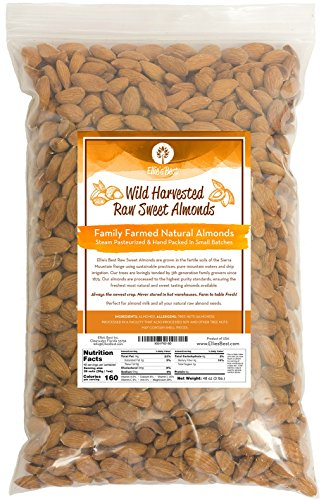 Raw Almonds Sweet Wild Harvested - Fresh & Plump - Naturally Steam Pasteurized 100% Natural Almonds - Family Farmed Since 1875-3 LBS - 5 & 10 LB Bulk Bags Available - Ellies Best