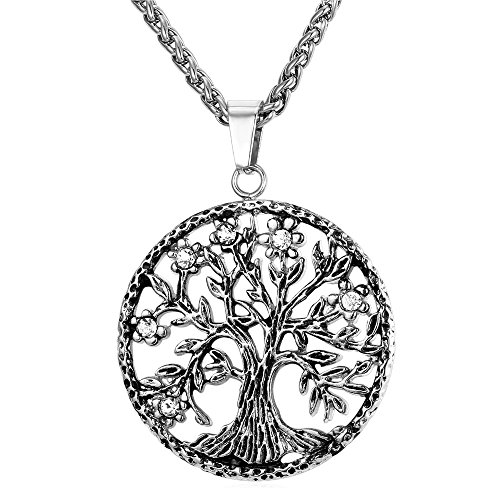 U7 Sacred Tree Necklace on Rope Chain Stainless Steel Rhinestone Crystal Tree of Life Pendant, Boys and Girls Jewelry from U7