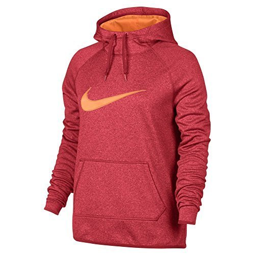 NIKE Womens Logo Dri-Fit Hooded Sweatshirt Orange L