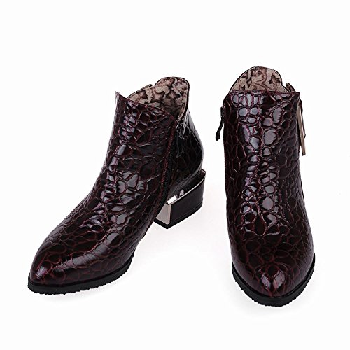 red claret Heels Womens Snakeskin Boots Faux Latasa Ankle Chunky Fall xwz8Iv