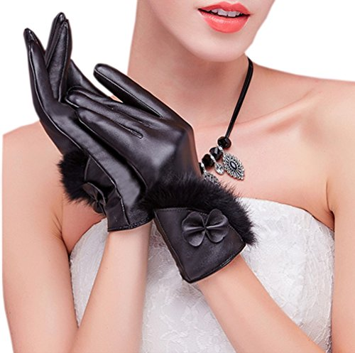 尊敬否認するフォーラムfulaixi 防寒 冬用品 保温 パネル手袋 防風 PU皮手袋 レディース ブロック (ブラック2)