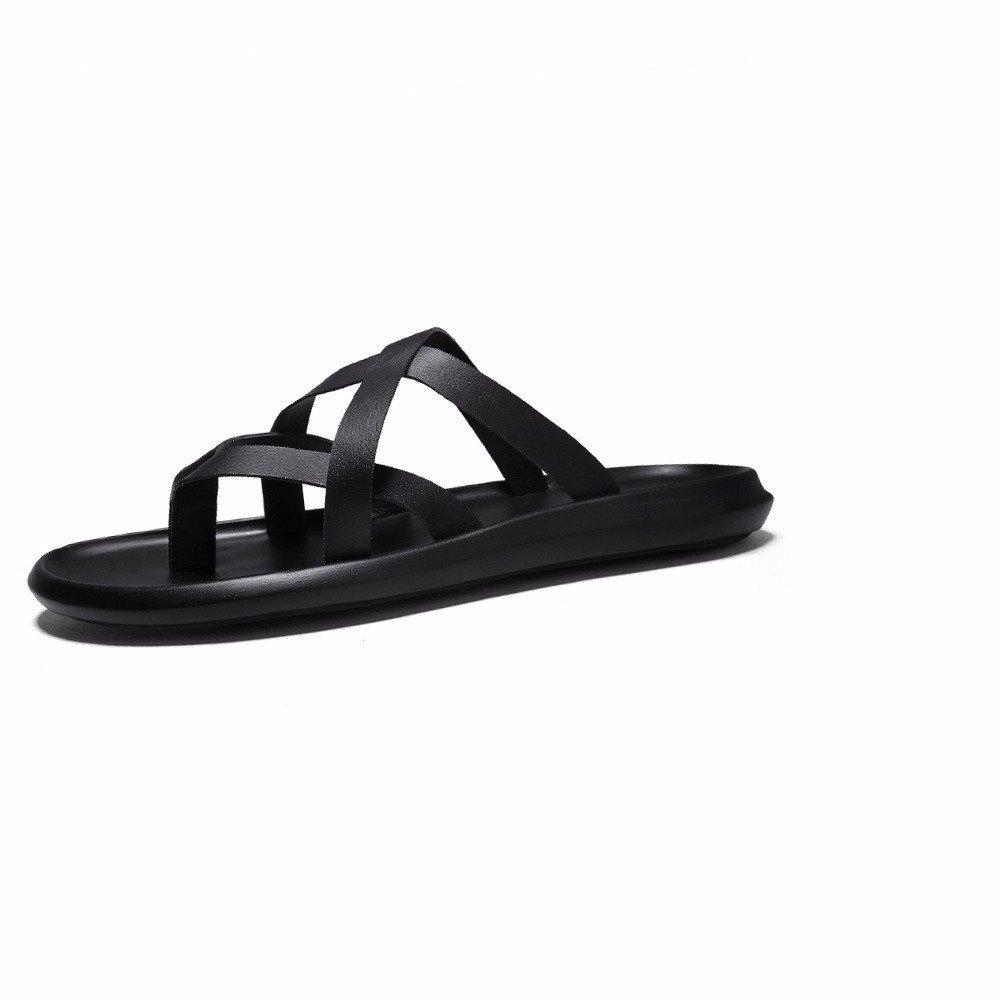 Sandalias Masculinas Espina de Pez de Verano la Personalidad del Hombre Refrigeración Casual Sandalias Zapatillas de Playa Antideslizante EU38CN39 Negro