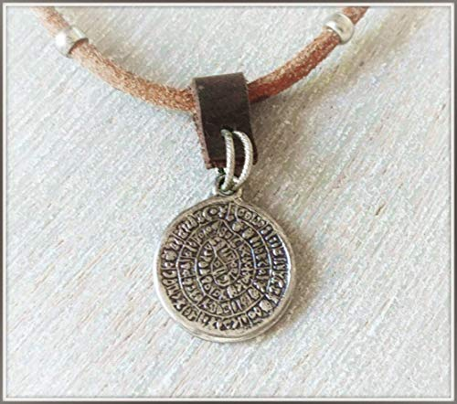Phaistos Disc Pendant, Greek Coin Leather Necklace for Men, Handmade Wearable Art Pendant