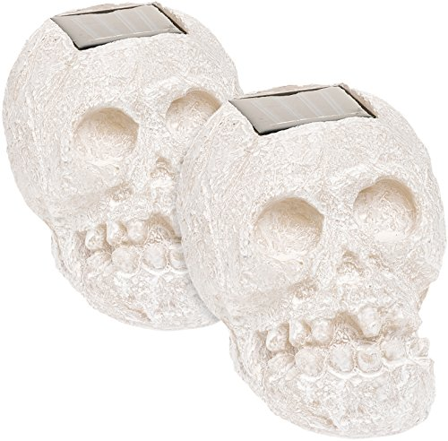 - (2 Pack) SKULLar Translucent Solar LED Outdoor Skull Fright Light (White)