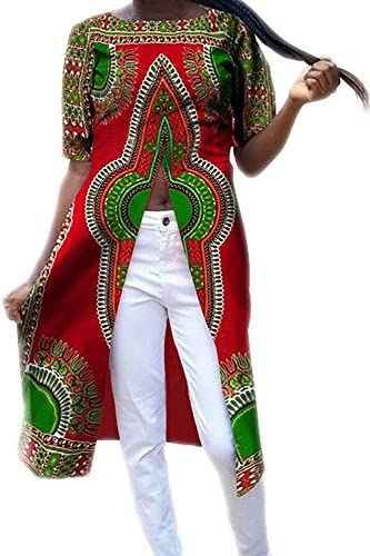 1137276a39 Offergood Women Casual African Print Dashiki Style High Split Short Sleeve  Long Shirt Tops Tribal Blouse