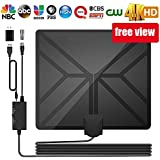 TV Antenna, Digital Antenna for HDTV 100 Miles Range Indoor TV Antenna with Amplifier Signal Booster Support 4K 1080P VHF UHF Freeview Local Channels, 16.5ft Coax Cable and USB Power Adapter